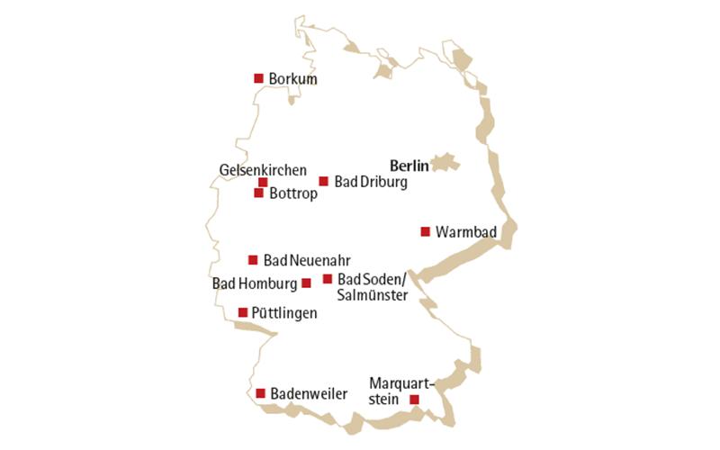 Landkarte Knappschaft Bahn See - Standorte